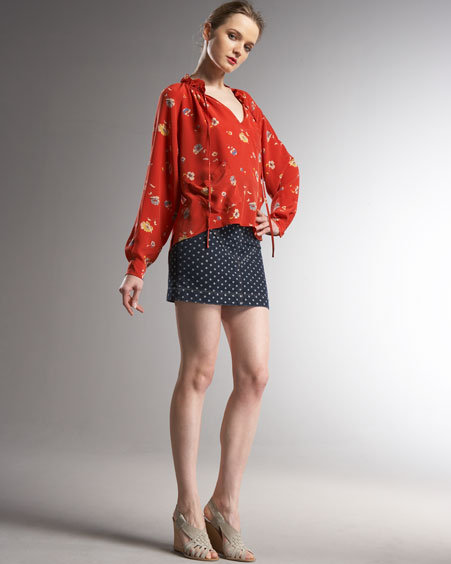 Rebecca Taylor Denim Dot Miniskirt