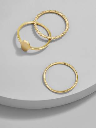 BaubleBar Trinity 18K Gold Plated Ring Set