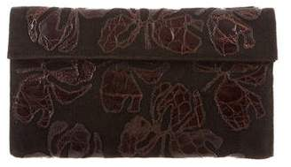 Nancy Gonzalez Crocodile-Trimmed Leaf Appliquéd Clutch
