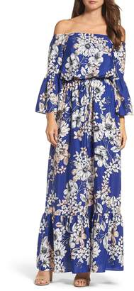 Eliza J Off the Shoulder Floral Maxi Dress