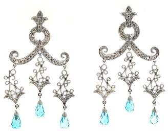 14K White Gold 3.00ct Briolette Blue Topaz Diamond Earrings