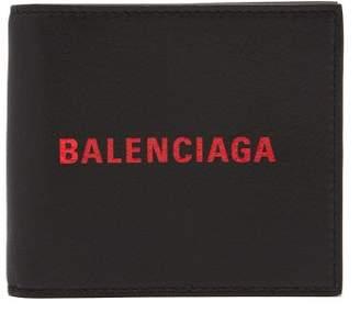 Balenciaga Logo Embossed Bi Fold Leather Wallet - Mens - Black Red