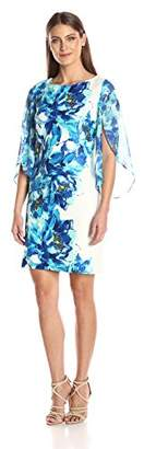 Sandra Darren Women's 1 Pc Trump Sleeve Printed Scuba & Chiffon Sheath Dress