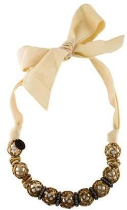 Lanvin Raffia & Faux Pearl Bead Strand Necklace