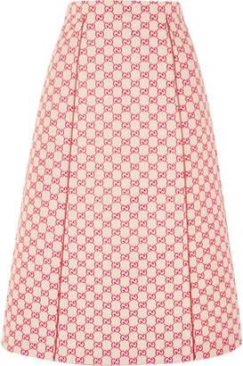 Gucci Printed Cotton-blend Canvas Midi Skirt