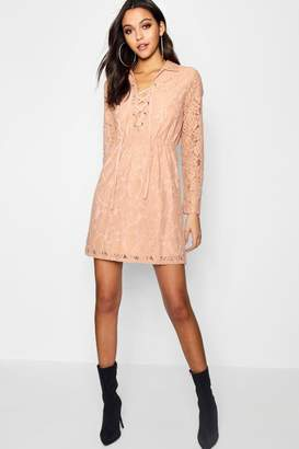 boohoo Lo Lace Up Front Corded Lace Shirt Dress