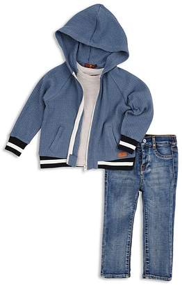 7 For All Mankind Boys' Waffle-Knit Hoodie, Pocket Tee & Slim-Fit Jeans Set - Little Kid