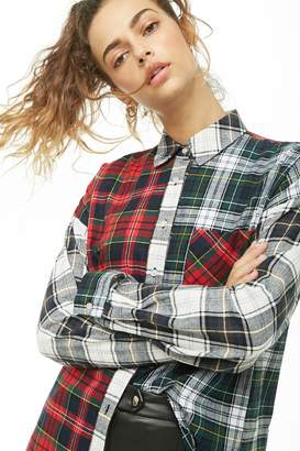Forever 21 Paneled Plaid Shirt
