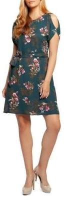 Dex Floral Cold-Shoulder A-Line Dress