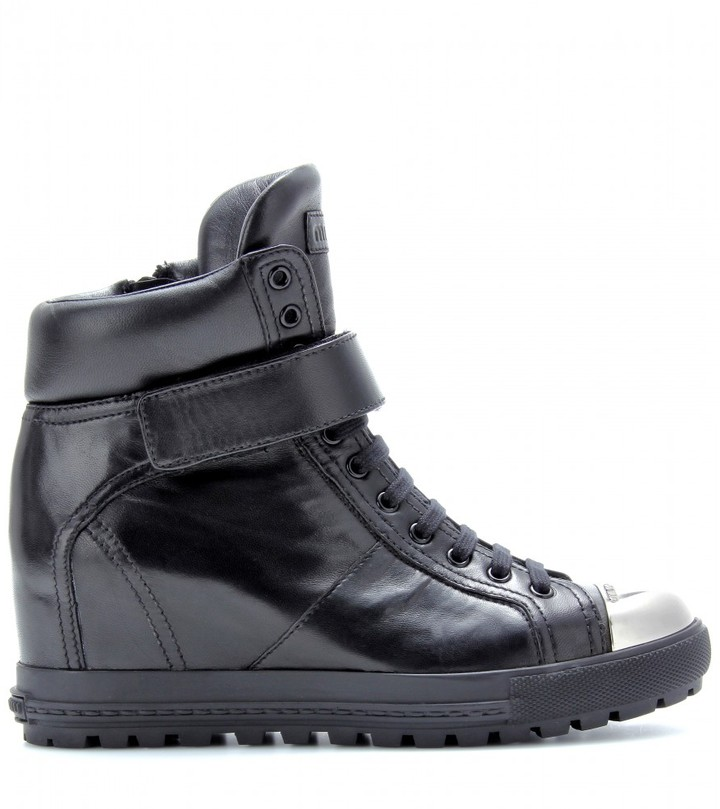 Miu Miu Leather concealed wedge sneakers