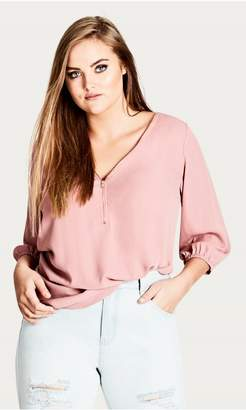 City Chic Citychic Sexy Fling Elbow Sleeve Top - Pink