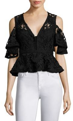 Nanette Lepore Cocktail Lace Peplum Cold Shoulder Cropped Top $348 thestylecure.com