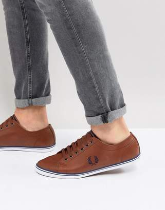Fred Perry Kingston Leather Plimsolls In Tan