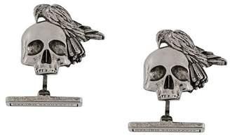Alexander McQueen skull and crow cufflinks