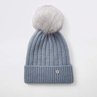 River Island Womens Light Blue faux fur bobble knit beanie hat