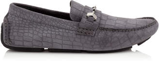 Jimmy Choo BREWER Slate Crocodile Printed Dry Suede Driving Shoes