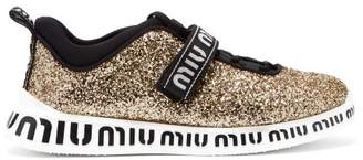 Miu Miu Glitter Embellished Neoprene Trainers - Womens - Gold