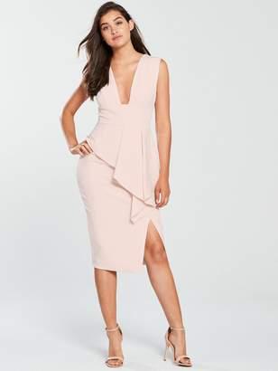 3c25376975d1 Lavish Alice Asymmetric Plunge Midi Bodycon Dress - Nude