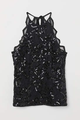 H&M Sleeveless Sequined Lace Top - Black