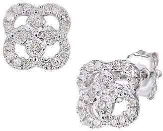 At Co Uk Naava Women S 9ct White Gold Diamond Stud Earrings Flower Design