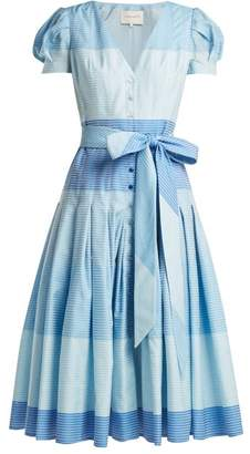 Carolina Herrera - Stripe Jacquard Panelled Dress - Womens - Blue Stripe