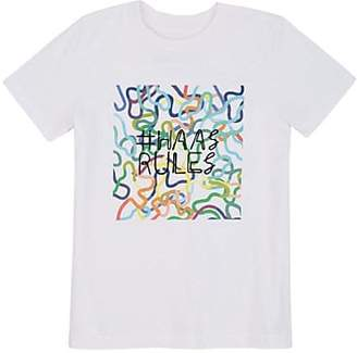 """Barneys New York Haas Brothers Xo Kids' """"#haasrules"""" Jersey T-Shirt - White Size 10 Yrs"""
