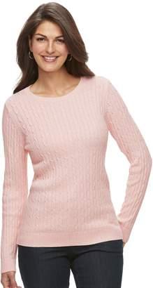 Croft & Barrow Petite Crewneck Cable-Knit Sweater