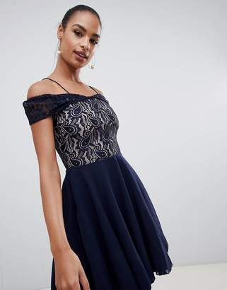 AX Paris strappy cold shoulder navy lace dress