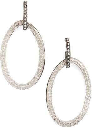 Armenta Old World Midnight Frontal Hoop Diamond Earrings