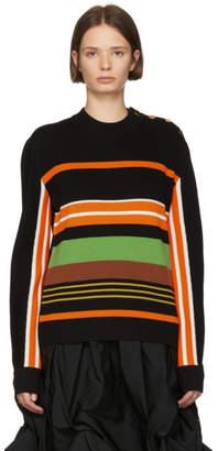 J.W.Anderson Black and Multicolor Striped Crewneck Sweater