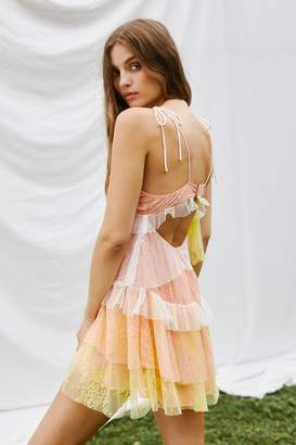 For Love & Lemons Sorbet Lace Mini Dress