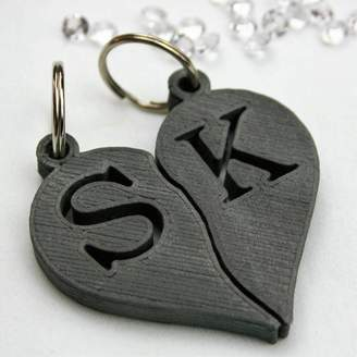 MixPixie Personalised Couple's Initials Heart Key Rings