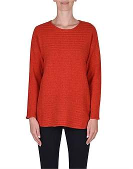 Jump Long Sleeve Horizontal Rib Pullover
