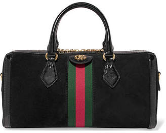 Gucci Ophidia Patent Leather-trimmed Suede Tote - Black