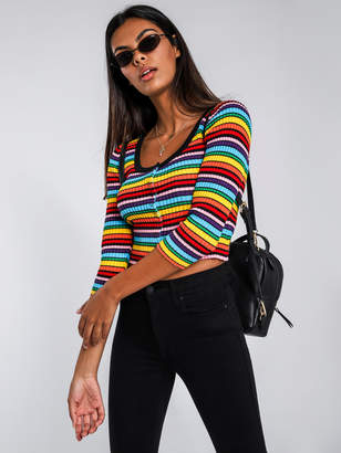 Lazy Oaf Rainbow Ribbed Scoop Neck Top in Multicolour