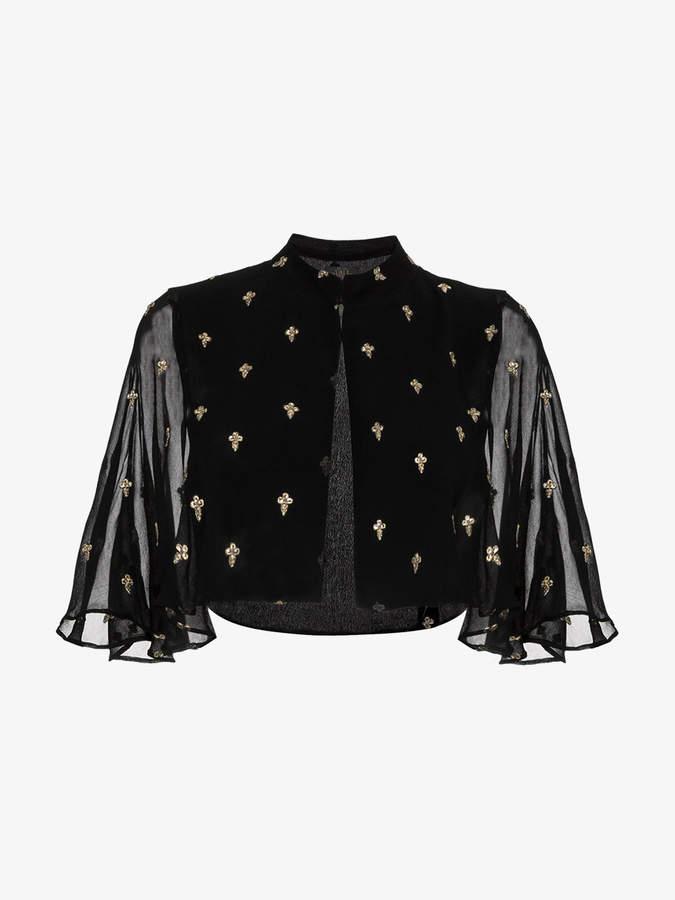 De La Vali Embroidered bolero cape jacket