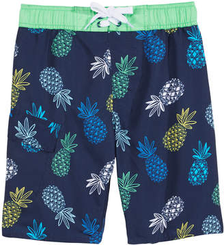 Hawke & Co Pineapple-Print Swim Trunks, Big Boys