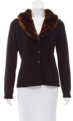 Lauren Ralph Lauren Faux Fur-Trimmed Wool-Blend Cardigan
