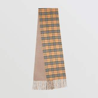 Burberry Long Reversible Vintage Check Double-faced Cashmere Scarf, Grey