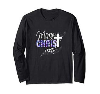 Christian Christmas Longsleeve Shirt-Blue Cross