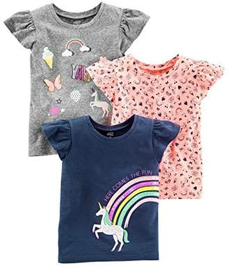 Carter's Simple Joys by Baby Girls' Toddler 3-Pack Graphic Tees