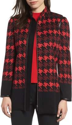Ming Wang Houndstooth Knit Jacket