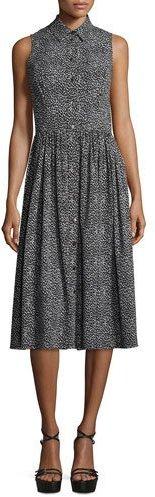 MICHAEL Michael KorsMichael Kors Collection Leopard-Print Sleeveless Silk Shirtdress, Black/White