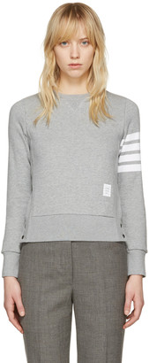 Thom Browne Grey Classic Four Bar Pullover $495 thestylecure.com