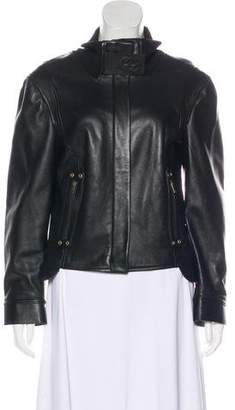 Gucci Leather Zip-Up Jacket