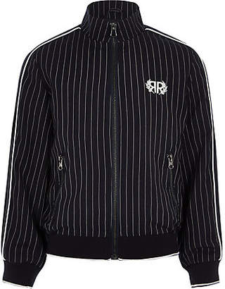 45e9eb25289c River Island Boys Navy pinstripe Harrington jacket
