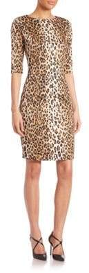 Carolina Herrera Cheetah-Print Stretch Cotton Sheath Dress