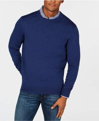 Club Room Men's Textured Merino Wool Crew Neck Sweater