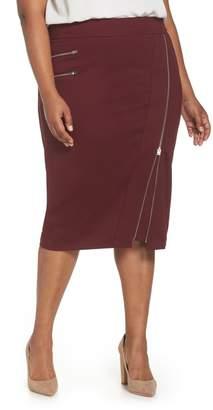 Sejour Zipper Detail Ponte Pencil Skirt (Plus Size)
