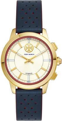 Tory Burch TORYTRACK HYBRID SMARTWATCH, NAVY LEATHER/GOLD-TONE, 38MM